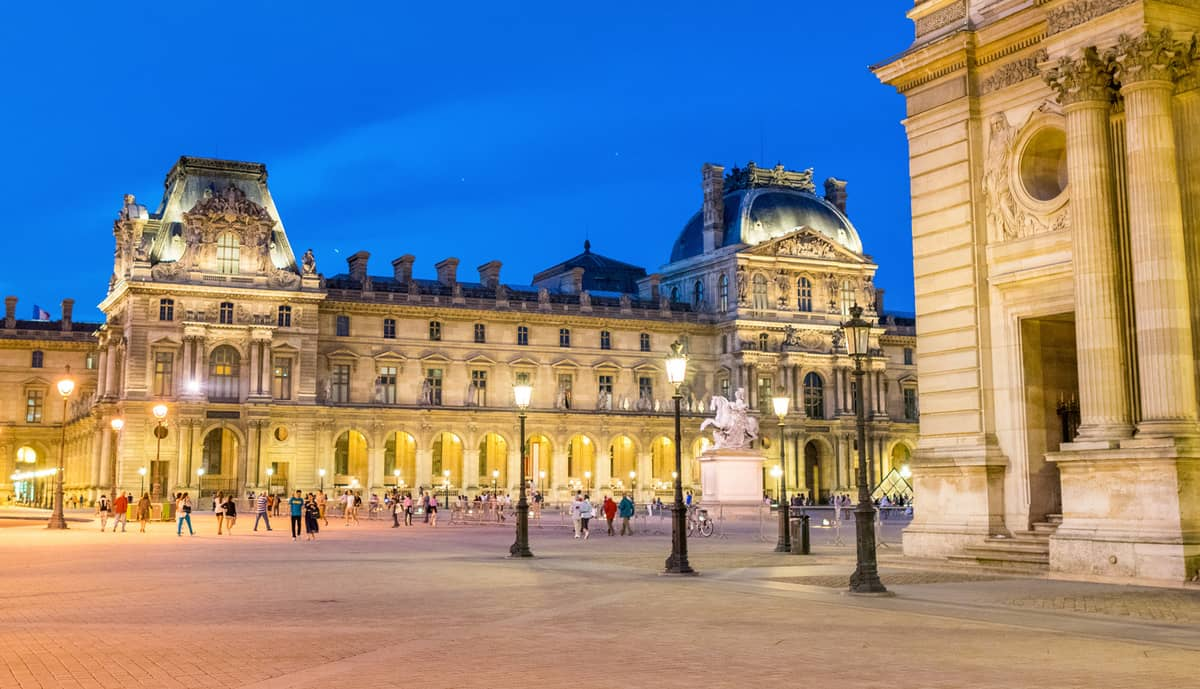 Paris, Louvre Square at night.
