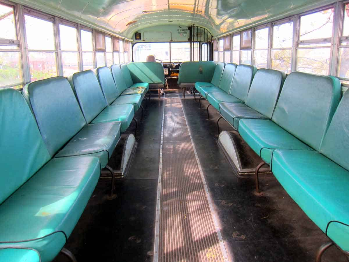Inside the school bus on the top of the City Museum