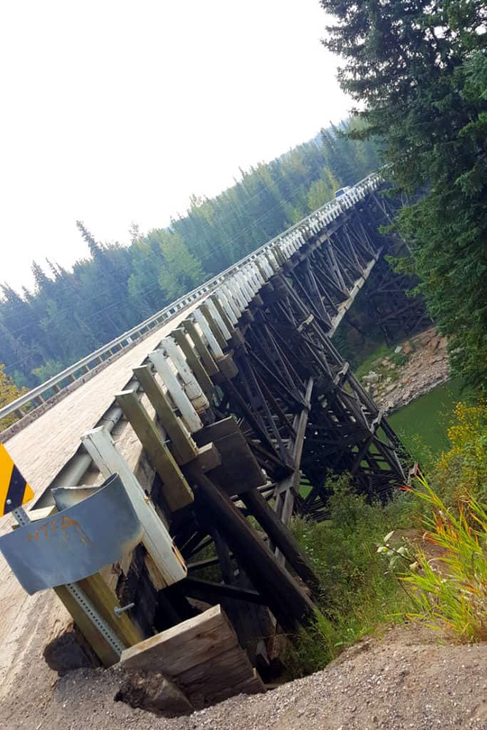 Wooden Kiskatinaw Bridge - part of the original Alaska Highway