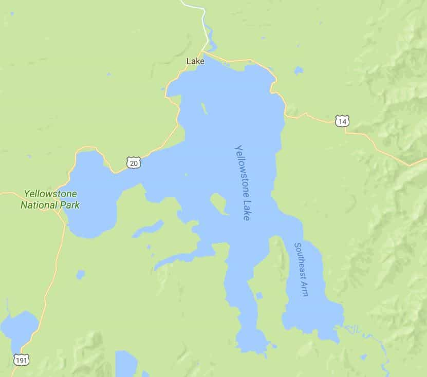 Yellowstone Lake is shaped like a hand