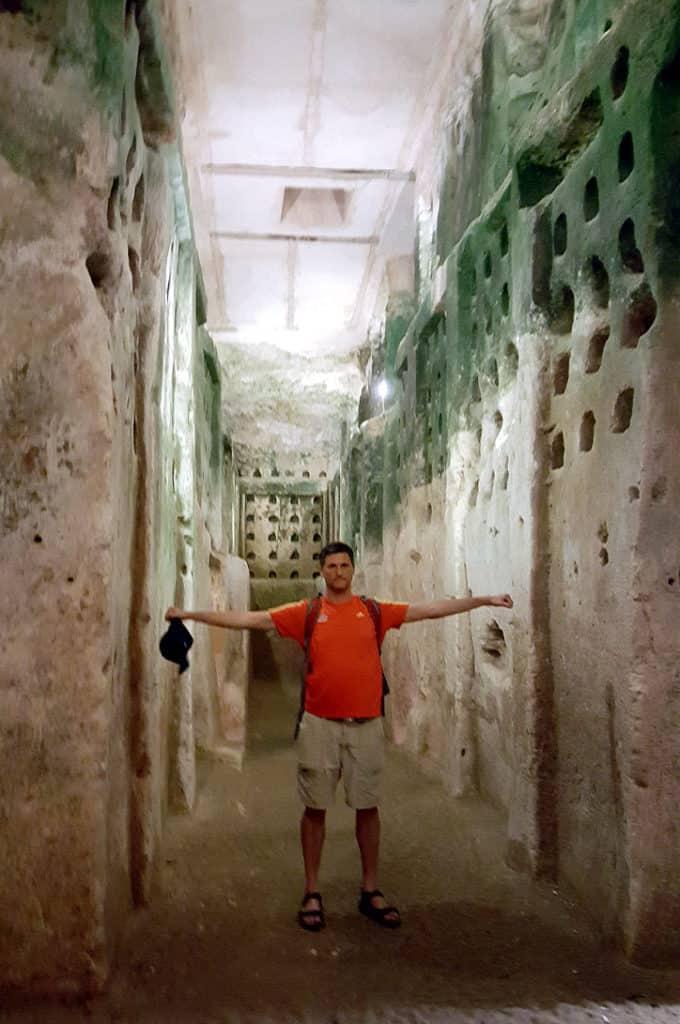Entering the Columbarium of Beit Guvrin
