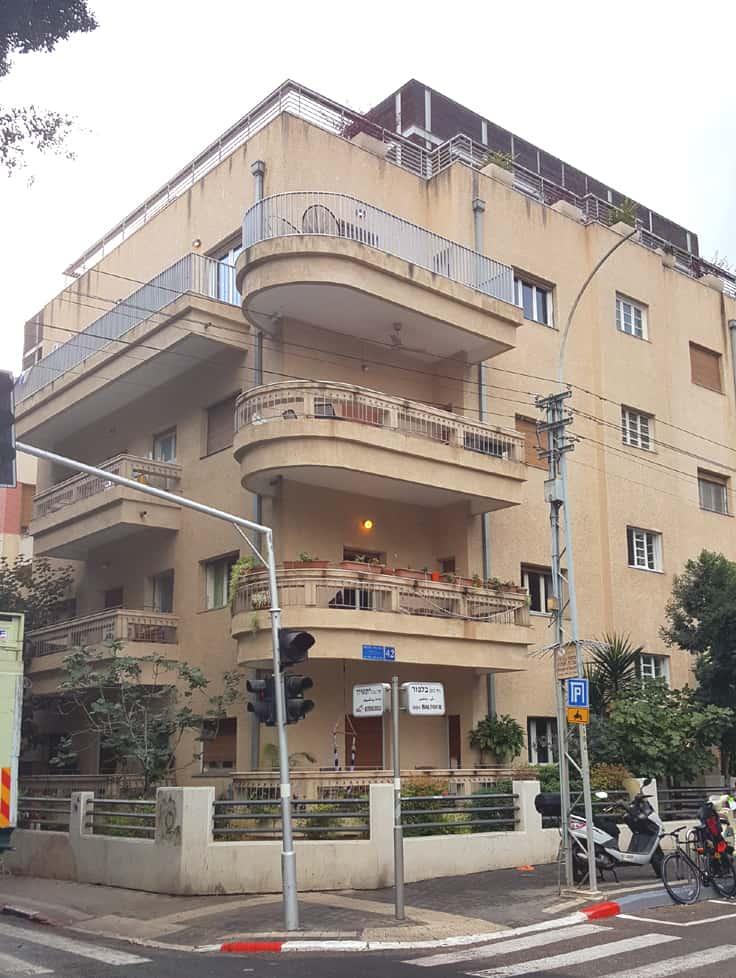 A typical Bauhaus building in Tel Aviv, combining squares with round lines. Click for The White City of Tel Aviv: A Visitor's Guide