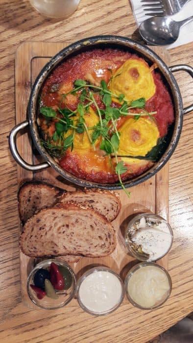 Israeli shakshuka - vegan style. Anastasia vegan restaurant review