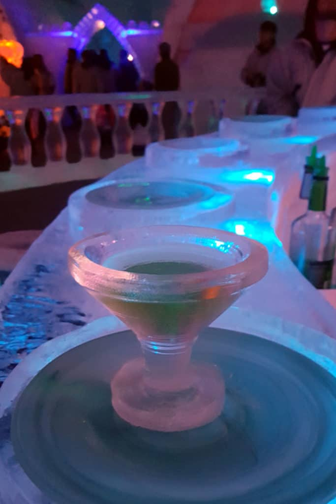 11 Pretty Awesome Things to Do in Fairbanks: Have a drink in an ice glass at the Aurora Ice Museum