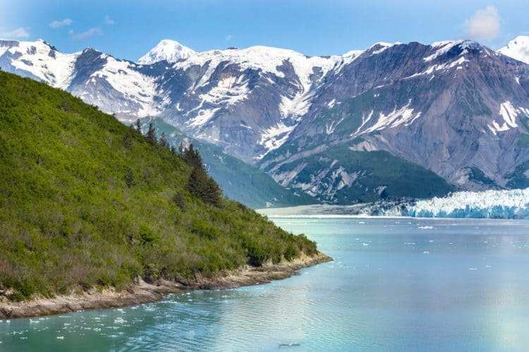 A scenic view from a ship of the Glacier Bay National Park