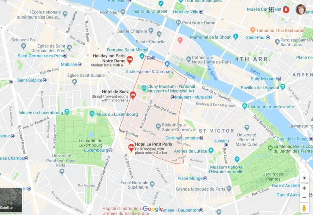 Map showing the Latin Quarter in Paris