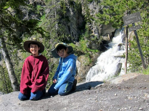 Our junior rangers at Mystic Falls, Yellowstone