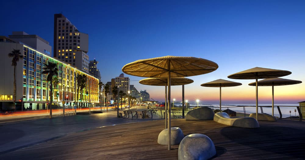 Tel Aviv Promenade during night time