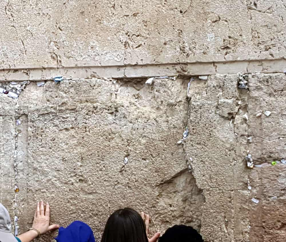 Paper notes in the stones of the Western Walls, Jerusalem