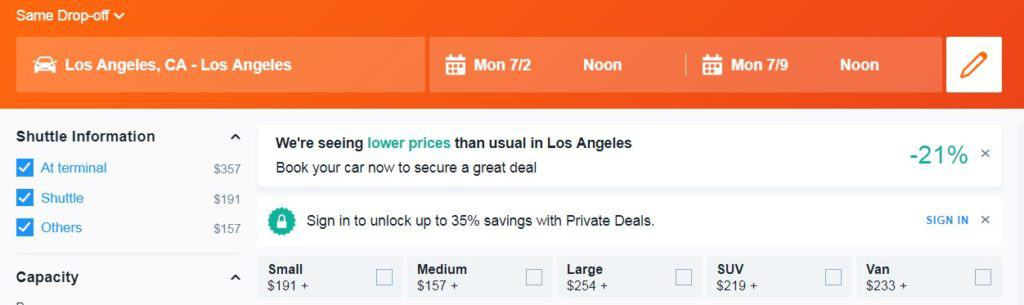 Cost of renting a vehicle in Los Angeles during July