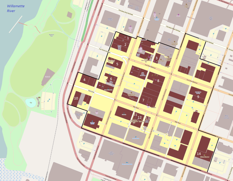 Map showing the boundaries of Salem's Historic Downtown District