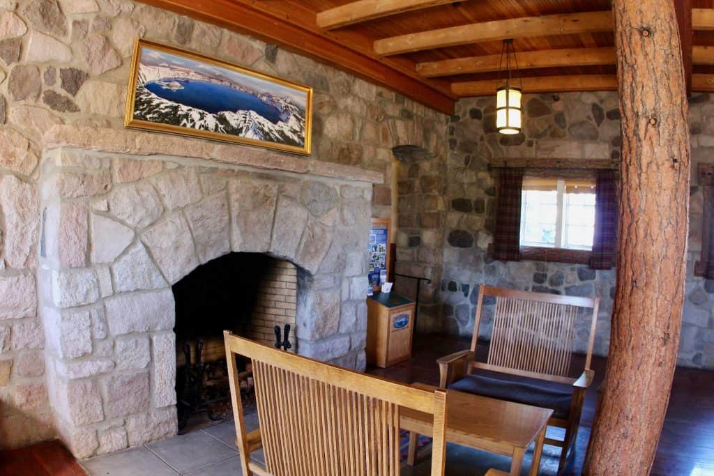 The fireplace at Crater Lake Lodge