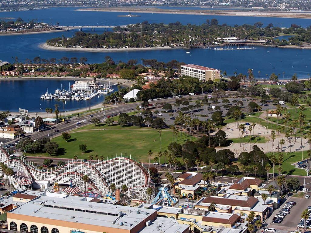 Visible are the Giant Dipper Roller Coaster, Bonita Cove, Bahia Point, Vacation Island and Fiesta Island