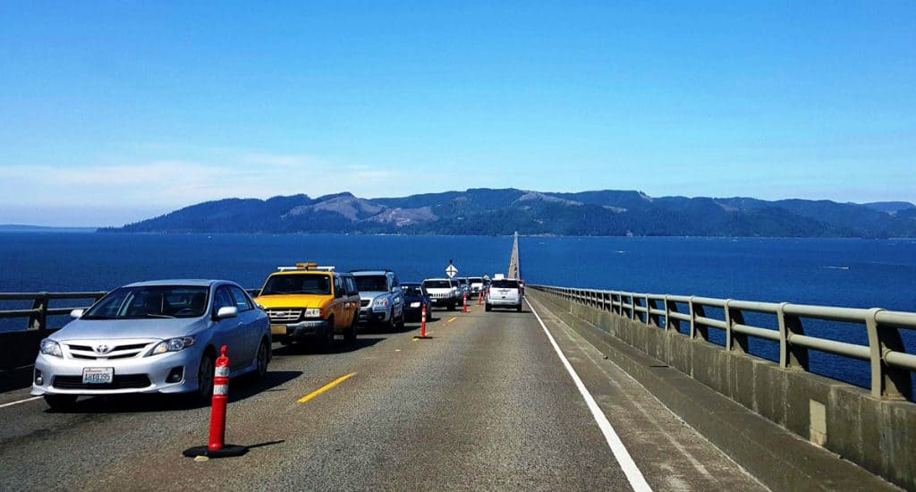 Crossing the Astoria-Megler Bridge from Oregon to Washington