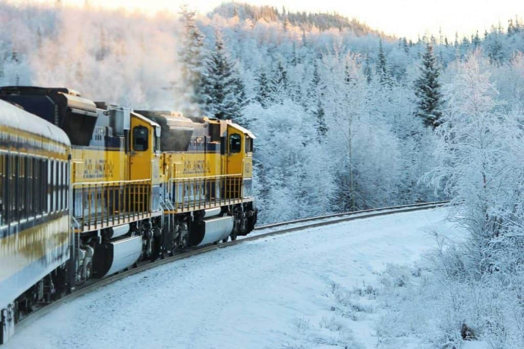 Alaskan Railway on Winter