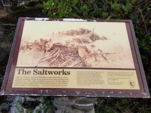 Lewis and Clark Salt Works Information sign