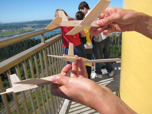 Flying balsa planes off the Astoria Column