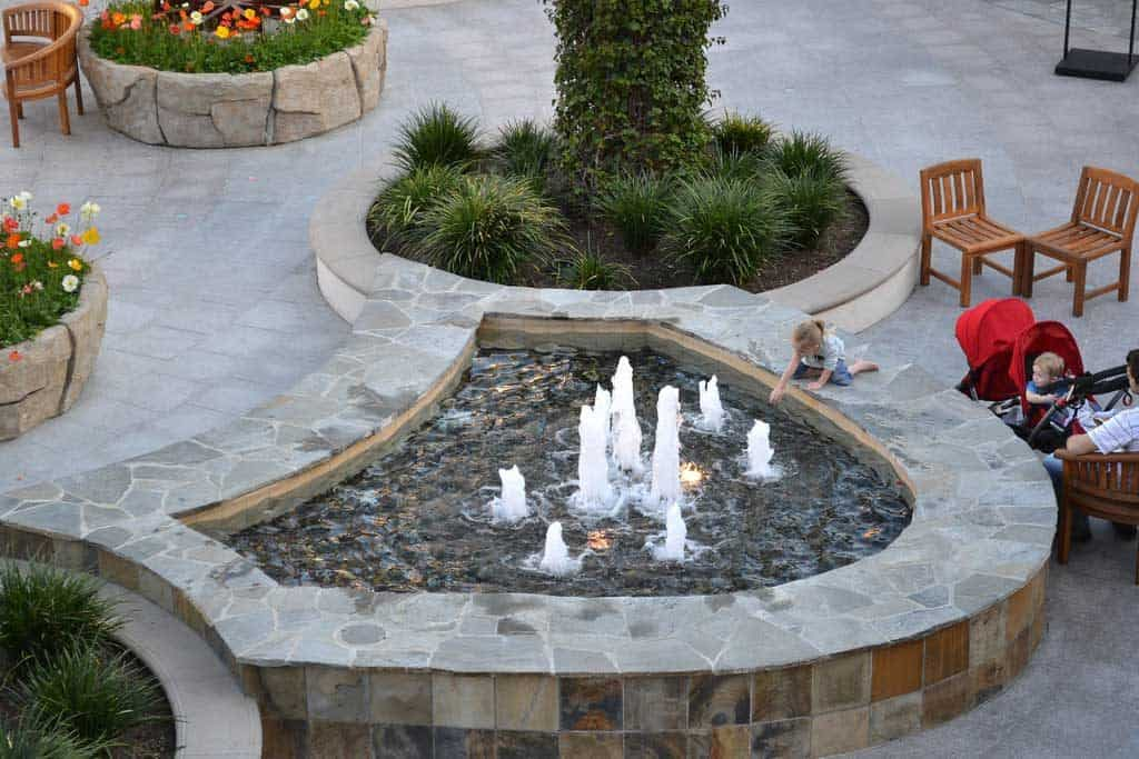 "A fountain at Anaheim's ""Garden Walk"" mall."