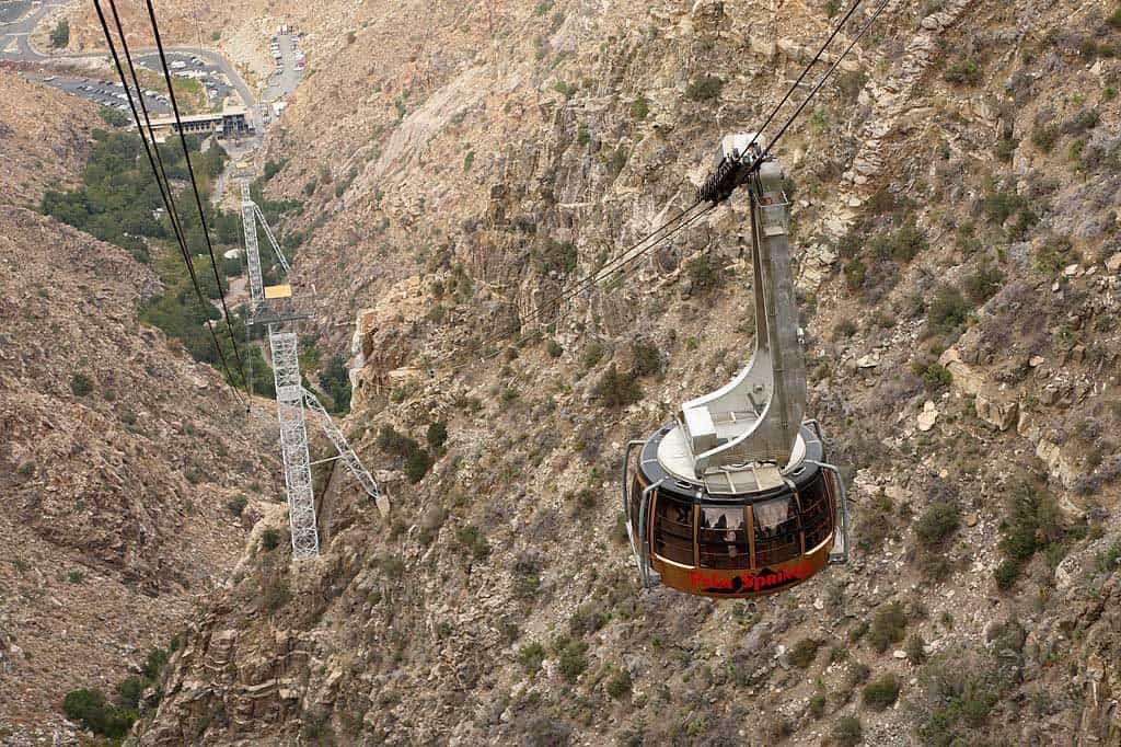 "the largest rotating tramway in the world - each car rotates continuously throughout the 8'30"" journey to the top offering views of Chico canyon and beyond."