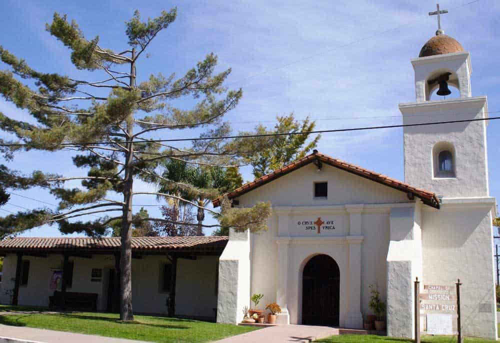This is the present day scaled down version from 1931 of the original Santa Cruz Mission, founded by the Franciscans from Spain in 1791.