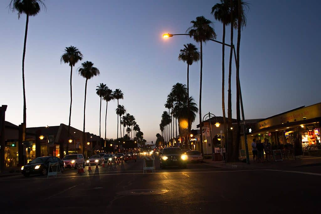 Palm Canyon Drive at sunset in Palm Springs, California