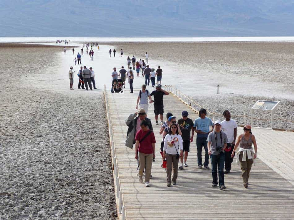 Visitors on the boardwalk at Badwater Basin.