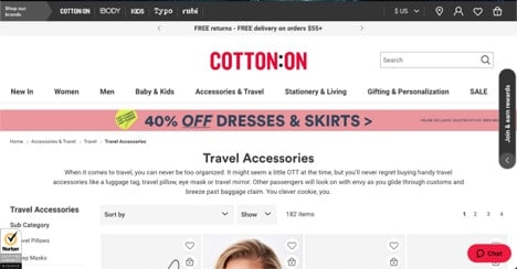 CottonOn & On website product page for Travel Accessories