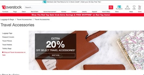 Overstock website product page for Travel Accessories