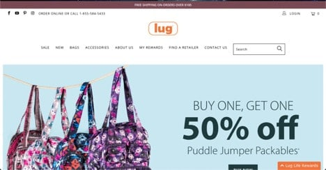 Lug website product page for Travel Accessories