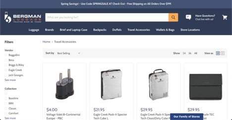 Bergman Luggage website product page for Travel Accessories