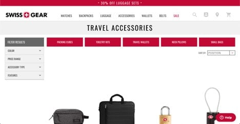 Swissgear website product page for Travel Accessories