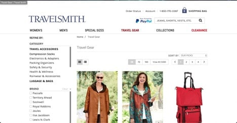 Travel Smith website product page for Travel Accessories
