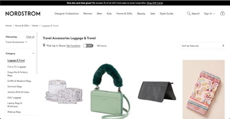 Nordstrom website product page for Travel Accessories