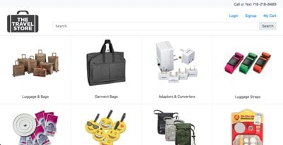 The Travel Store website product page for Travel Accessories