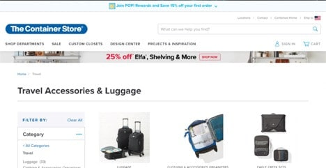 The Container Store website product page for Travel Accessories