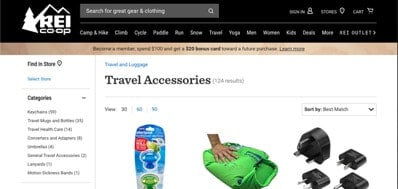 REI Co-op website product page for Travel Accessories