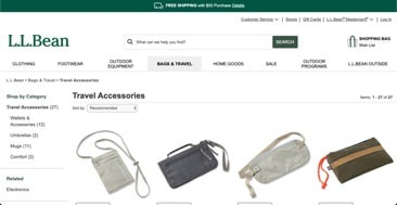 L.L. Bean website product page for Travel Accessories
