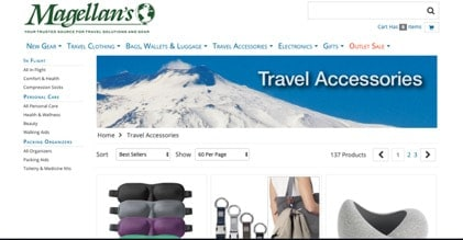 Magellan's website product page for Travel Accessories