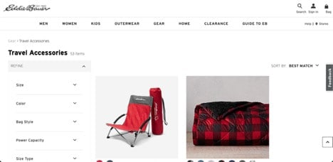 Eddie Bauer website product page for Travel Accessories