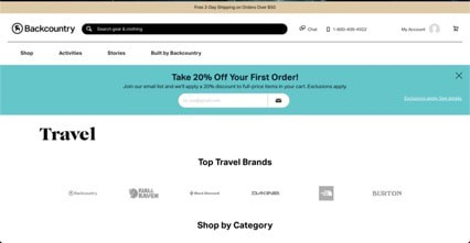 Backcountry website product page for Travel Accessories
