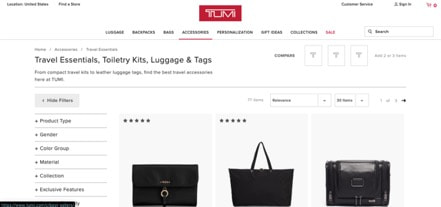 Tumi website product page for Travel Accessories