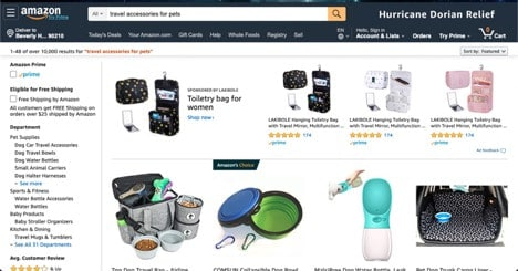 Amazon.com Pet Travel Accessories website product page for Travel Accessories