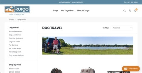 Kurgo website product page for Travel Accessories