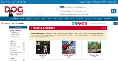 Dog.com website product page for Travel Accessories