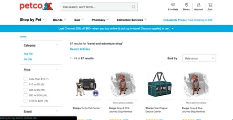 Petco website product page for Travel Accessories