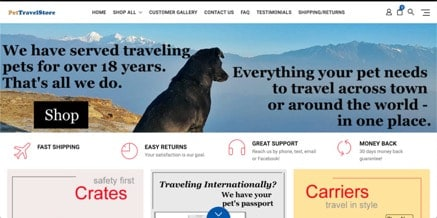 Pet Travel Store website product page for Travel Accessories