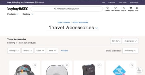 Buy Buy Baby website product page for Travel Accessories