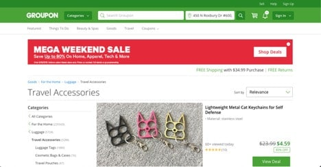 Groupon website product page for Travel Accessories