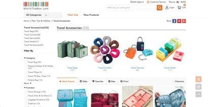 Mini in the Box website product page for Travel Accessories
