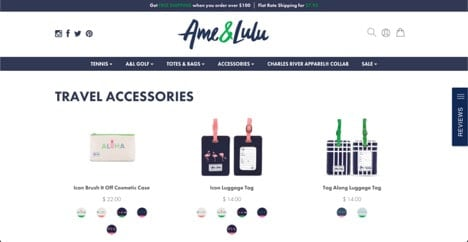 Ame & Lulu website product page for Travel Accessories